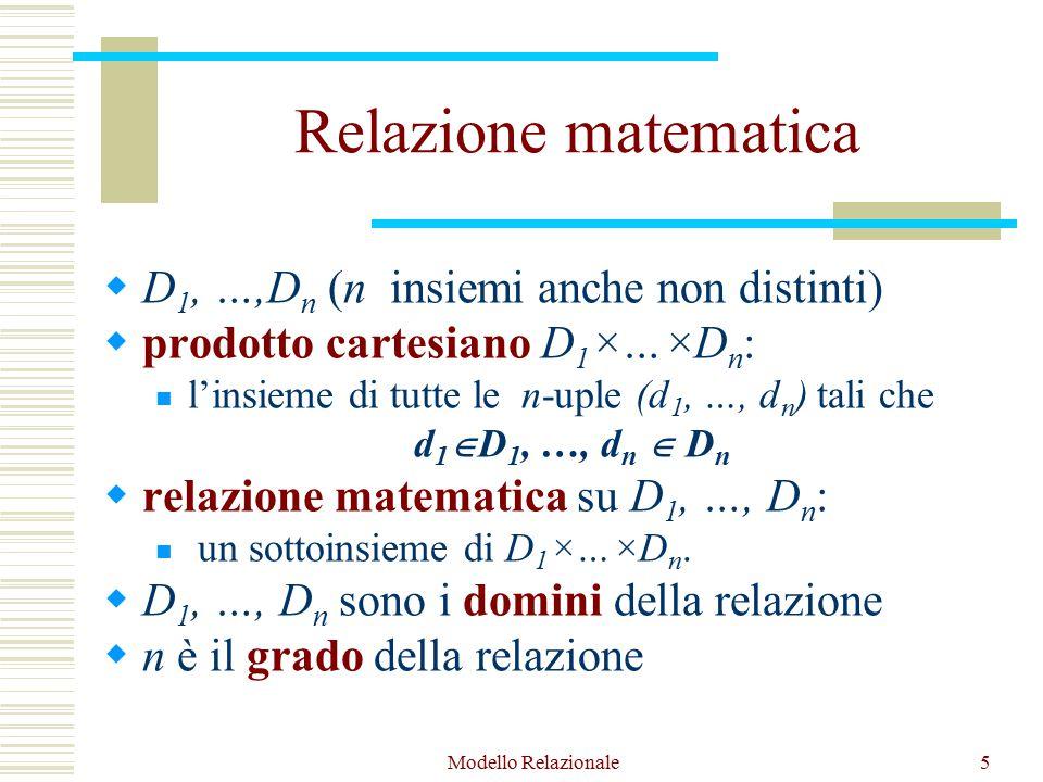 Modello Relazionale5 Relazione matematica  D 1, …,D n (n insiemi anche non distinti)  prodotto cartesiano D 1 ×…×D n : l'insieme di tutte le n-uple (d 1, …, d n ) tali che d 1  D 1, …, d n  D n  relazione matematica su D 1, …, D n : un sottoinsieme di D 1 ×…×D n.