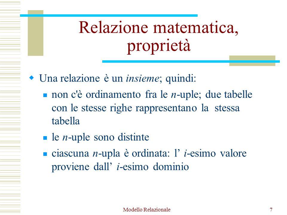 Modello Relazionale7 Relazione matematica, proprietà  Una relazione è un insieme; quindi: non c è ordinamento fra le n-uple; due tabelle con le stesse righe rappresentano la stessa tabella le n-uple sono distinte ciascuna n-upla è ordinata: l' i-esimo valore proviene dall' i-esimo dominio
