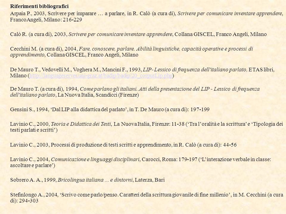 Riferimenti bibliografici Arpaia P., 2003, Scrivere per imparare … a parlare, in R. Calò (a cura di), Scrivere per comunicare inventare apprendere, Fr