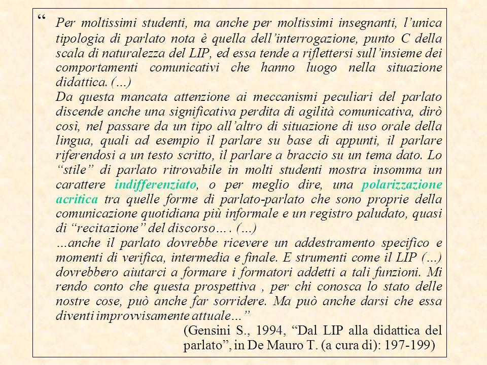 """"""" Per moltissimi studenti, ma anche per moltissimi insegnanti, l'unica tipologia di parlato nota è quella dell'interrogazione, punto C della scala di"""