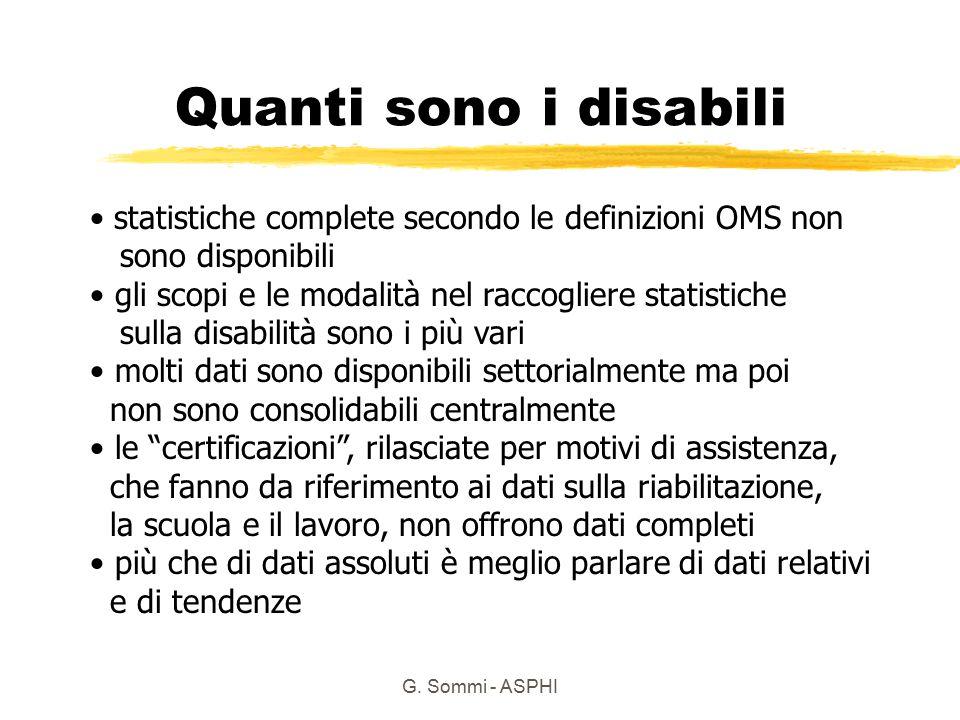 G. Sommi - ASPHI Quanti sono i disabili statistiche complete secondo le definizioni OMS non sono disponibili gli scopi e le modalità nel raccogliere s