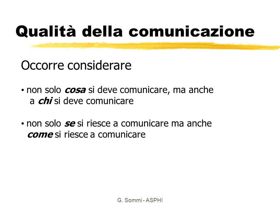 G. Sommi - ASPHI Qualità della comunicazione Occorre considerare non solo cosa si deve comunicare, ma anche a chi si deve comunicare non solo se si ri