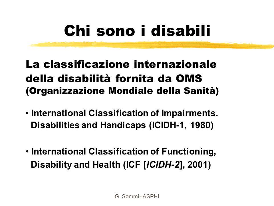 G. Sommi - ASPHI La classificazione internazionale della disabilità fornita da OMS (Organizzazione Mondiale della Sanità) International Classification