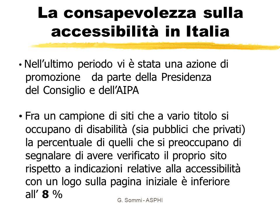 G. Sommi - ASPHI La consapevolezza sulla accessibilità in Italia Nell'ultimo periodo vi è stata una azione di promozione da parte della Presidenza del