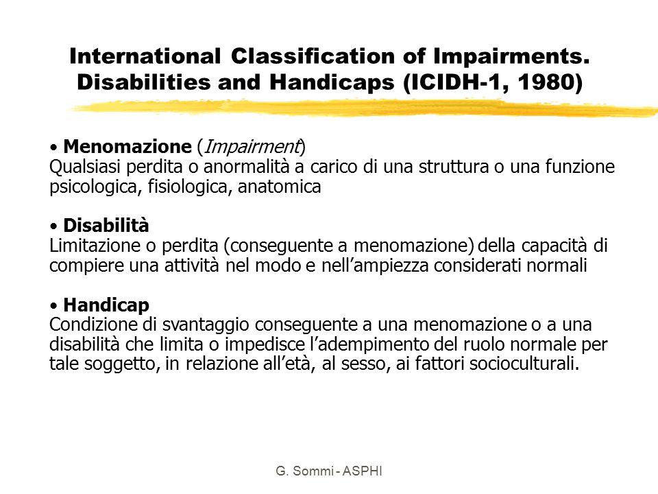 G.Sommi - ASPHI ICIDH 1 Menomazioni 1. Della capacità intellettiva 2.