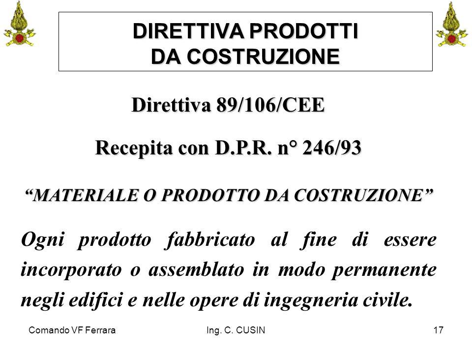 """Comando VF FerraraIng. C. CUSIN17 DIRETTIVA PRODOTTI DA COSTRUZIONE Direttiva 89/106/CEE Recepita con D.P.R. n° 246/93 """"MATERIALE O PRODOTTO DA COSTRU"""