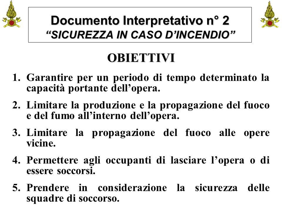"""Comando VF FerraraIng. C. CUSIN21 Documento Interpretativo n° 2 """"SICUREZZA IN CASO D'INCENDIO"""" OBIETTIVI 1.Garantire per un periodo di tempo determina"""