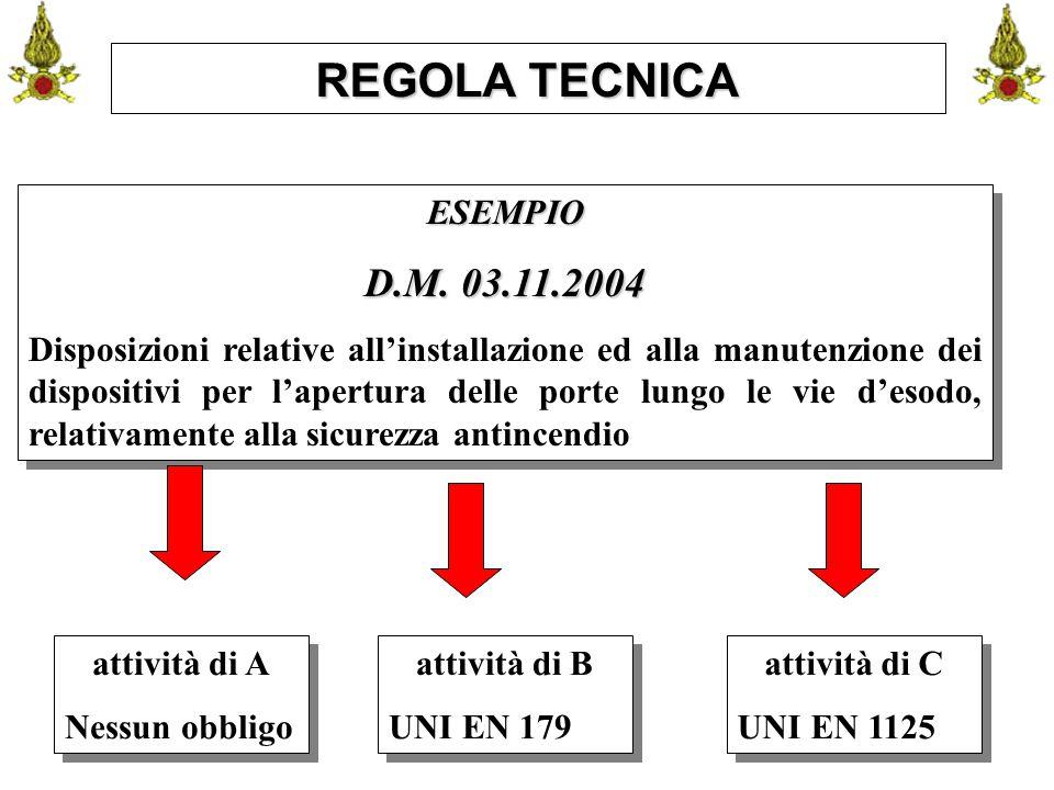 Comando VF FerraraIng. C. CUSIN26 REGOLA TECNICA ESEMPIO D.M. 03.11.2004 Disposizioni relative all'installazione ed alla manutenzione dei dispositivi
