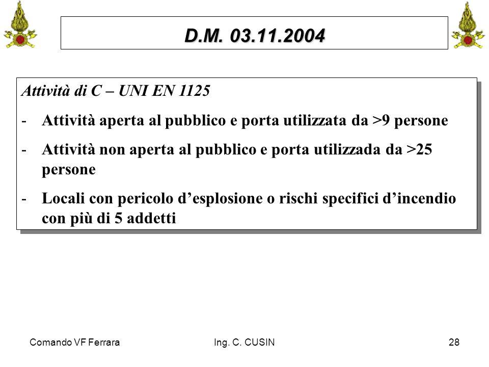 Comando VF FerraraIng. C. CUSIN28 D.M. 03.11.2004 Attività di C – UNI EN 1125 -Attività aperta al pubblico e porta utilizzata da >9 persone -Attività