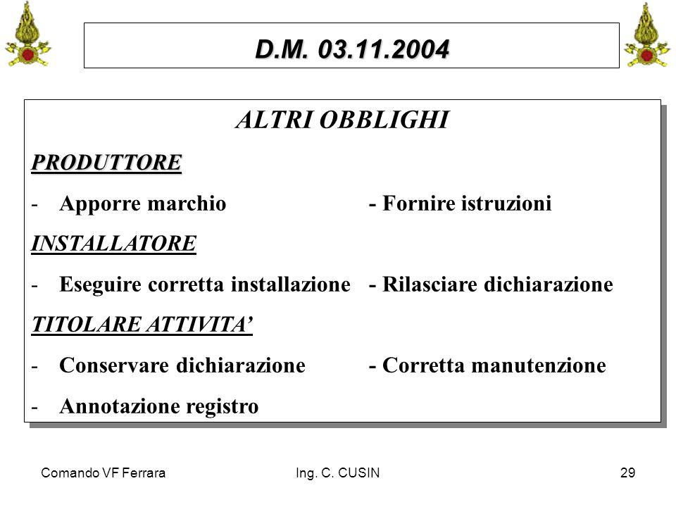 Comando VF FerraraIng. C. CUSIN29 D.M. 03.11.2004 ALTRI OBBLIGHIPRODUTTORE -Apporre marchio- Fornire istruzioni INSTALLATORE -Eseguire corretta instal