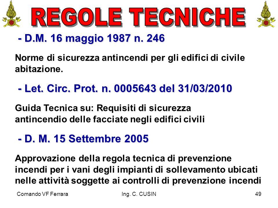 Comando VF FerraraIng. C. CUSIN49 - D.M. 16 maggio 1987 n. 246 - D.M. 16 maggio 1987 n. 246 Norme di sicurezza antincendi per gli edifici di civile ab