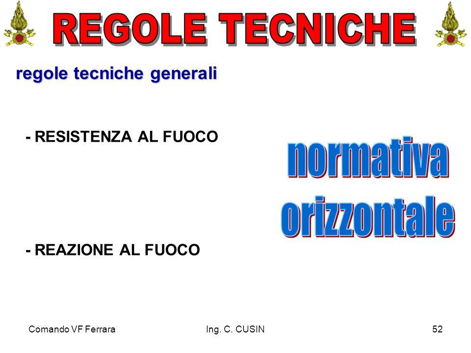 Comando VF FerraraIng. C. CUSIN52 regole tecniche generali - RESISTENZA AL FUOCO - REAZIONE AL FUOCO