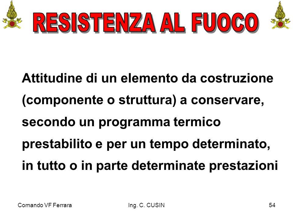 Comando VF FerraraIng. C. CUSIN54 Attitudine di un elemento da costruzione (componente o struttura) a conservare, secondo un programma termico prestab