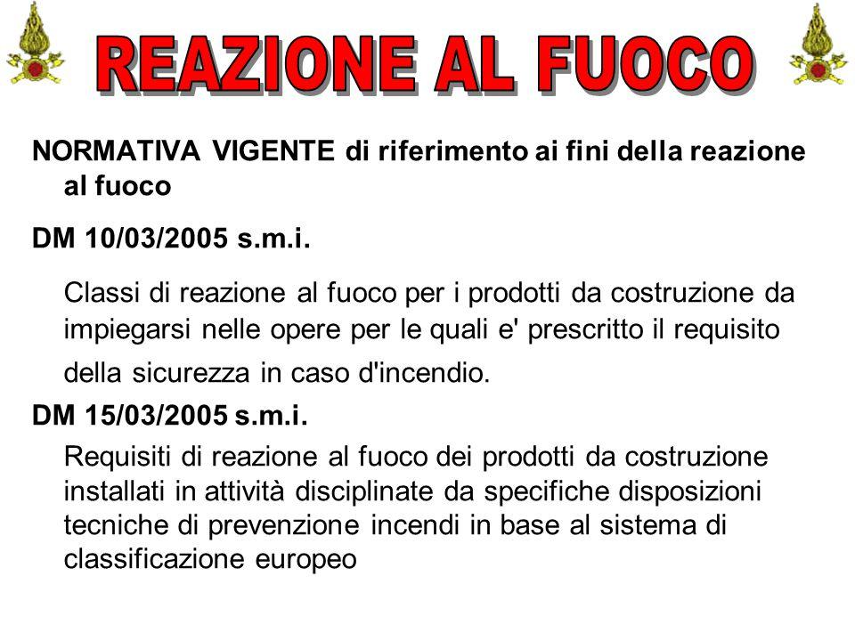 Comando VF FerraraIng. C. CUSIN57 NORMATIVA VIGENTE di riferimento ai fini della reazione al fuoco DM 10/03/2005 s.m.i. Classi di reazione al fuoco pe