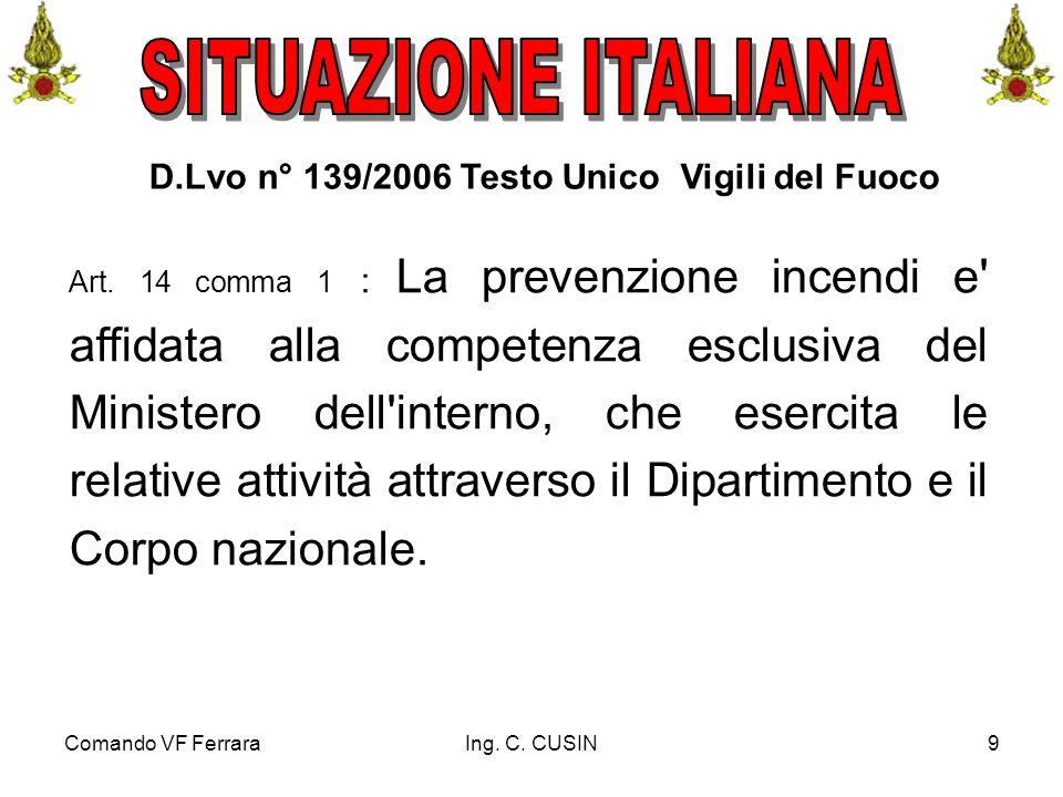 Comando VF FerraraIng. C. CUSIN9 D.Lvo n° 139/2006 Testo Unico Vigili del Fuoco Art. 14 comma 1 : La prevenzione incendi e' affidata alla competenza e