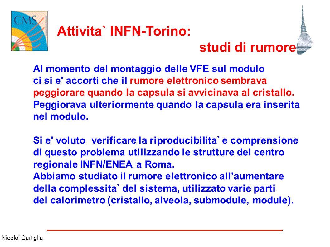 Nicolo` Cartiglia Attivita` INFN-Torino: studi di rumore Al momento del montaggio delle VFE sul modulo ci si e' accorti che il rumore elettronico semb