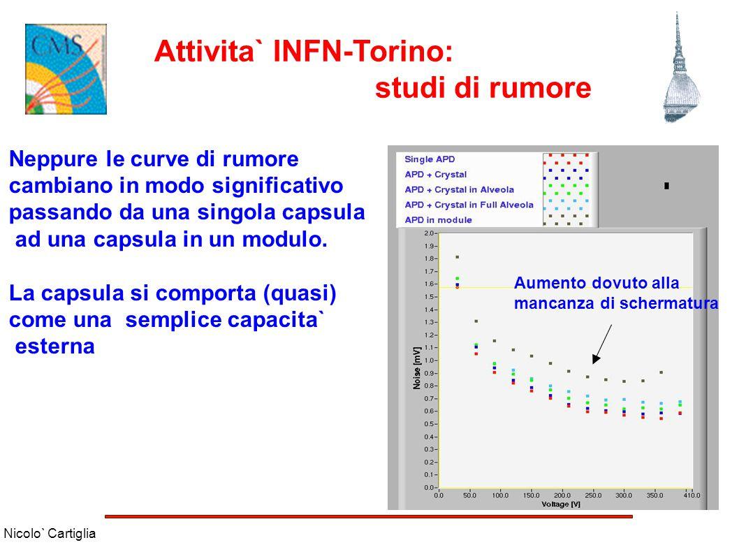 Nicolo` Cartiglia Attivita` INFN-Torino: studi di rumore Neppure le curve di rumore cambiano in modo significativo passando da una singola capsula ad