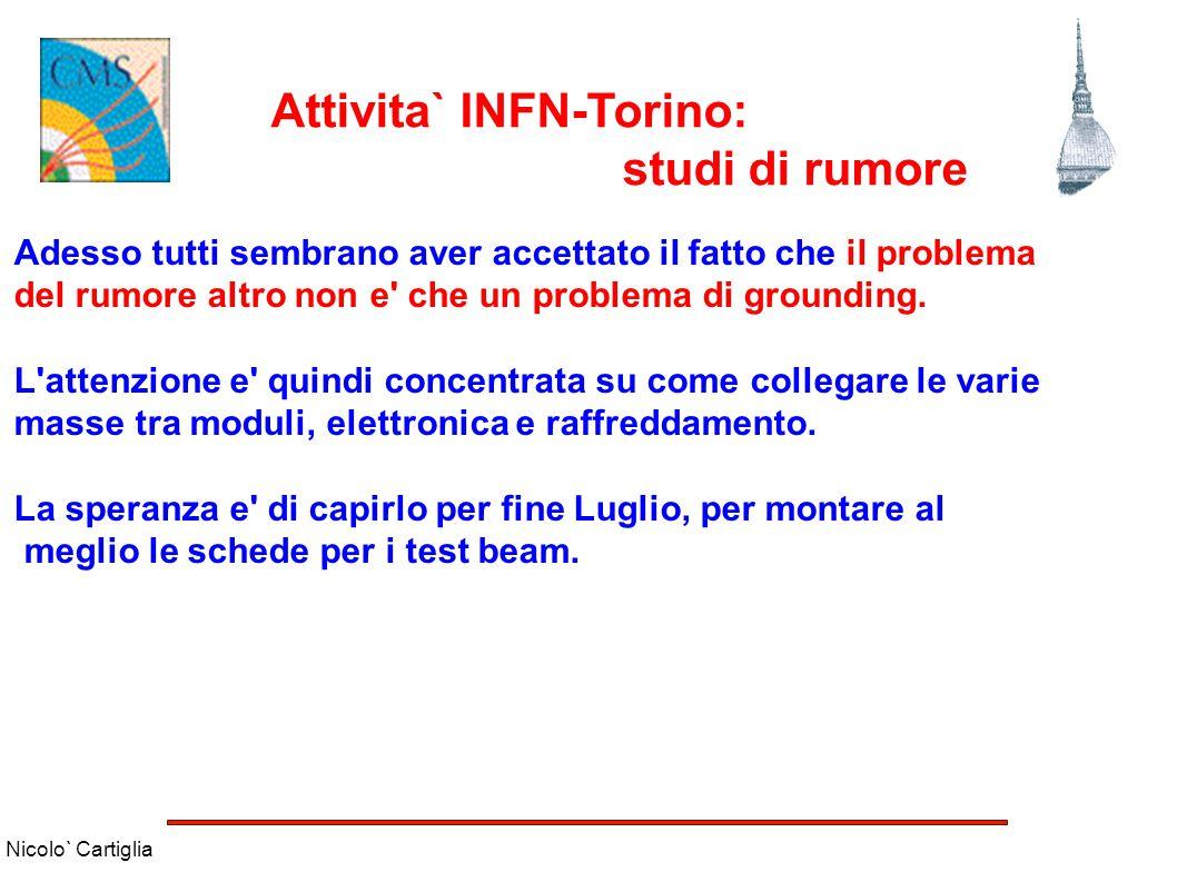 Nicolo` Cartiglia Attivita` INFN-Torino: studi di rumore Adesso tutti sembrano aver accettato il fatto che il problema del rumore altro non e' che un