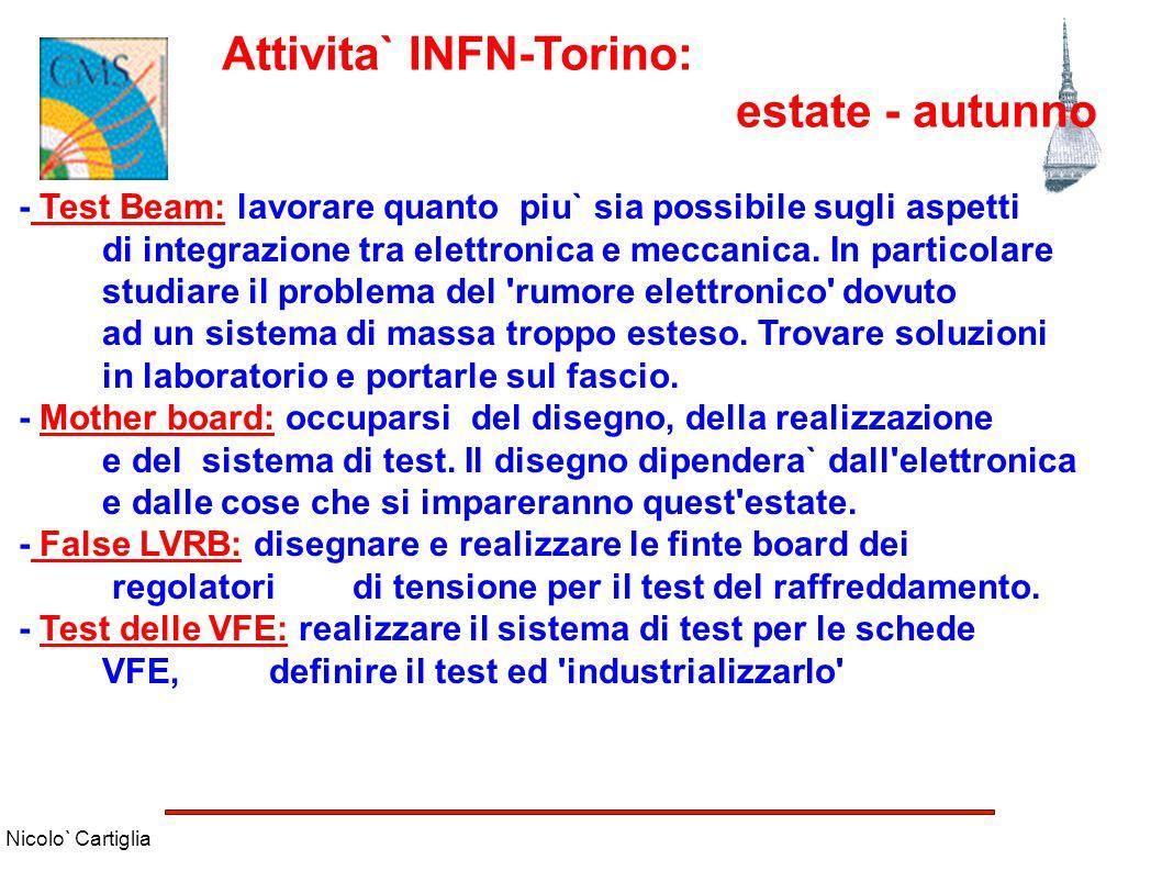 Nicolo` Cartiglia Attivita` INFN-Torino: estate - autunno - Test Beam: lavorare quanto piu` sia possibile sugli aspetti di integrazione tra elettronic