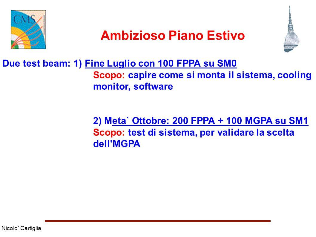Nicolo` Cartiglia Ambizioso Piano Estivo Due test beam: 1) Fine Luglio con 100 FPPA su SM0 Scopo: capire come si monta il sistema, cooling monitor, so