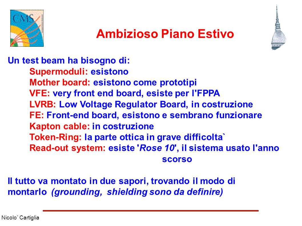 Nicolo` Cartiglia Ambizioso Piano Estivo Un test beam ha bisogno di: Supermoduli: esistono Mother board: esistono come prototipi VFE: very front end b