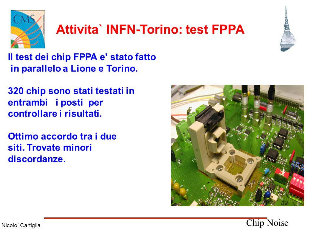 Nicolo` Cartiglia Attivita` INFN-Torino: test FPPA Il 68% dei chip non hanno passato il test: ● 23% digital +5 V ● 19%analog -2 V ● 15% noise level ● 6%modes ● 5%gain ratio