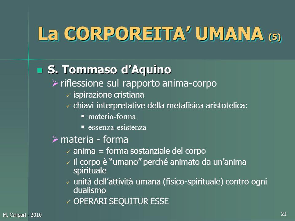 M. Calipari - 2010 21 La CORPOREITA' UMANA (5) S. Tommaso d'Aquino S. Tommaso d'Aquino  riflessione sul rapporto anima-corpo ispirazione cristiana ch