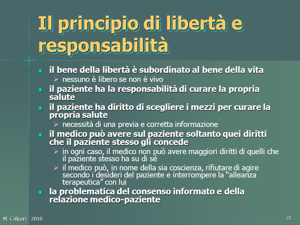 M. Calipari - 2010 31 Il principio di libertà e responsabilità il bene della libertà è subordinato al bene della vita il bene della libertà è subordin