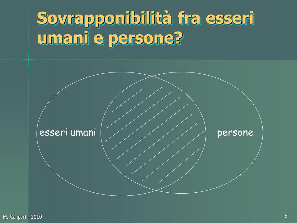 M. Calipari - 2010 5 Sovrapponibilità fra esseri umani e persone? esseri umanipersone