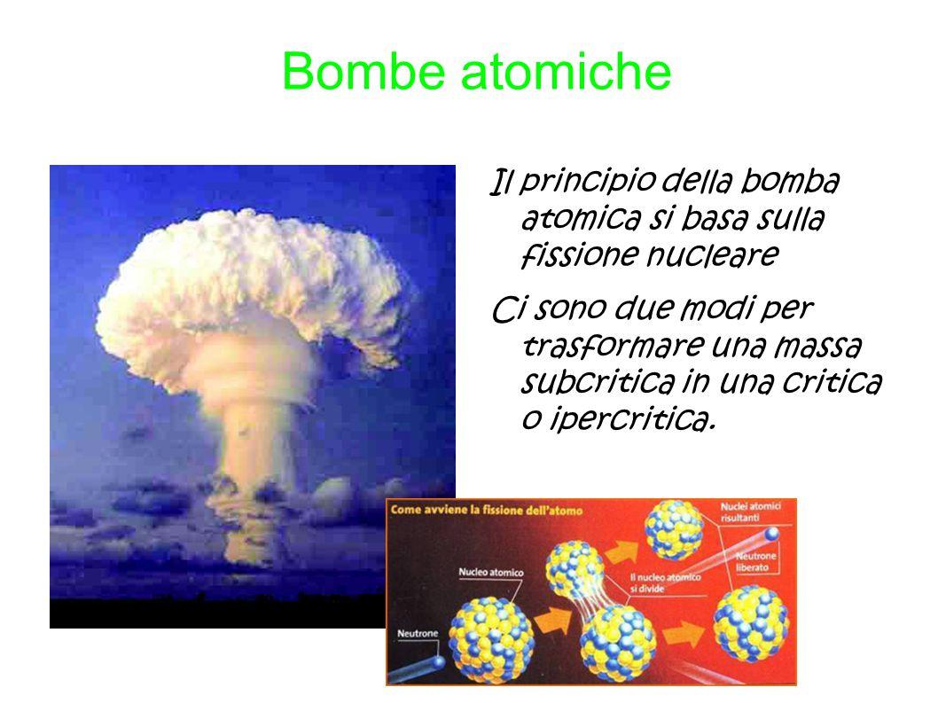 Bombe atomiche Il principio della bomba atomica si basa sulla fissione nucleare Ci sono due modi per trasformare una massa subcritica in una critica o