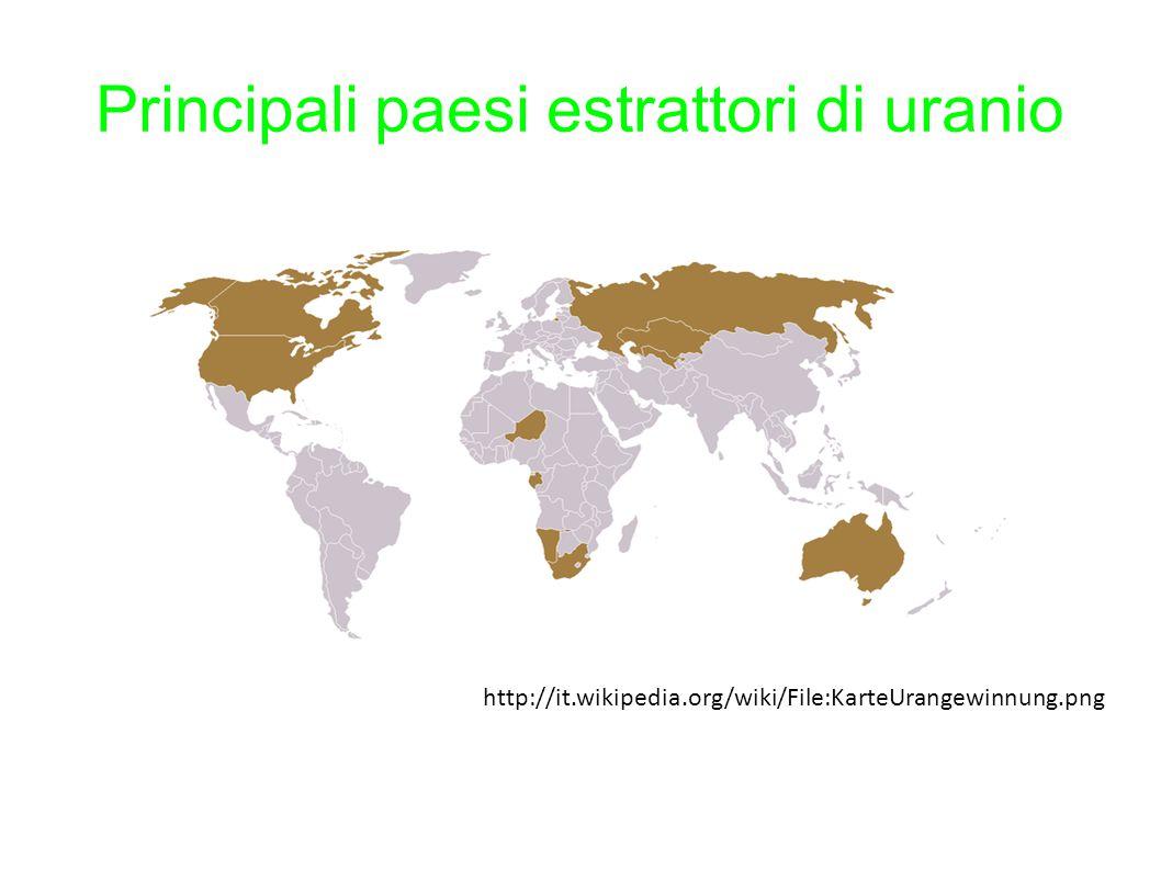 Principali paesi estrattori di uranio http://it.wikipedia.org/wiki/File:KarteUrangewinnung.png