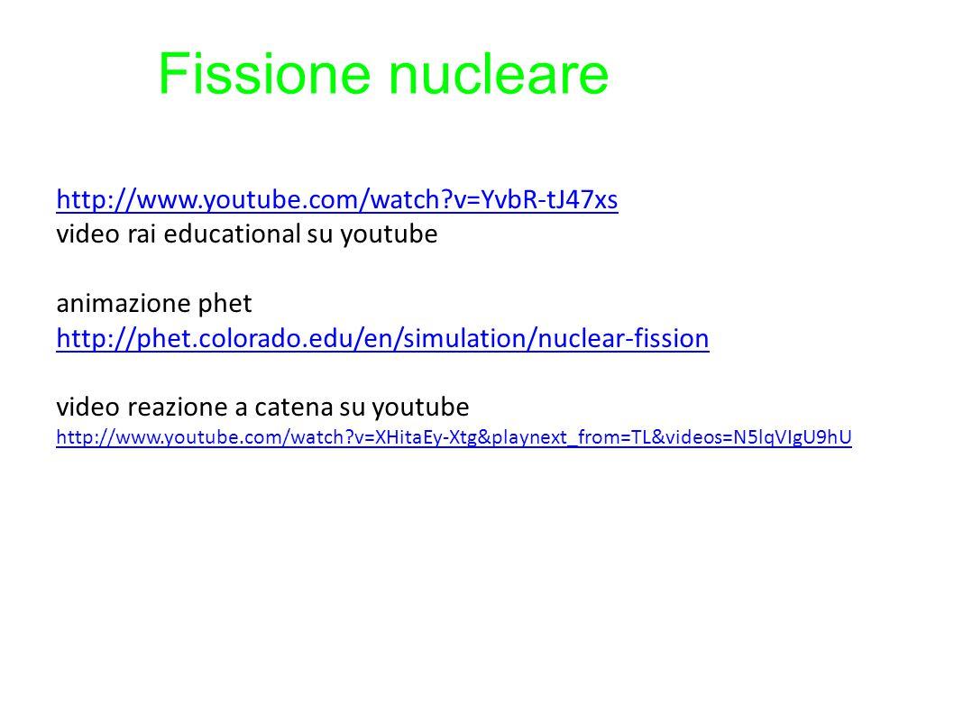 Fissione nucleare http://www.youtube.com/watch?v=YvbR-tJ47xs video rai educational su youtube animazione phet http://phet.colorado.edu/en/simulation/n