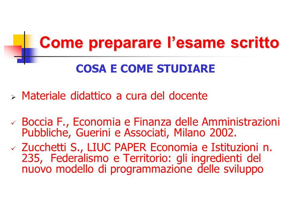 Come preparare l'esame scritto COSA E COME STUDIARE  Materiale didattico a cura del docente Boccia F., Economia e Finanza delle Amministrazioni Pubbliche, Guerini e Associati, Milano 2002.