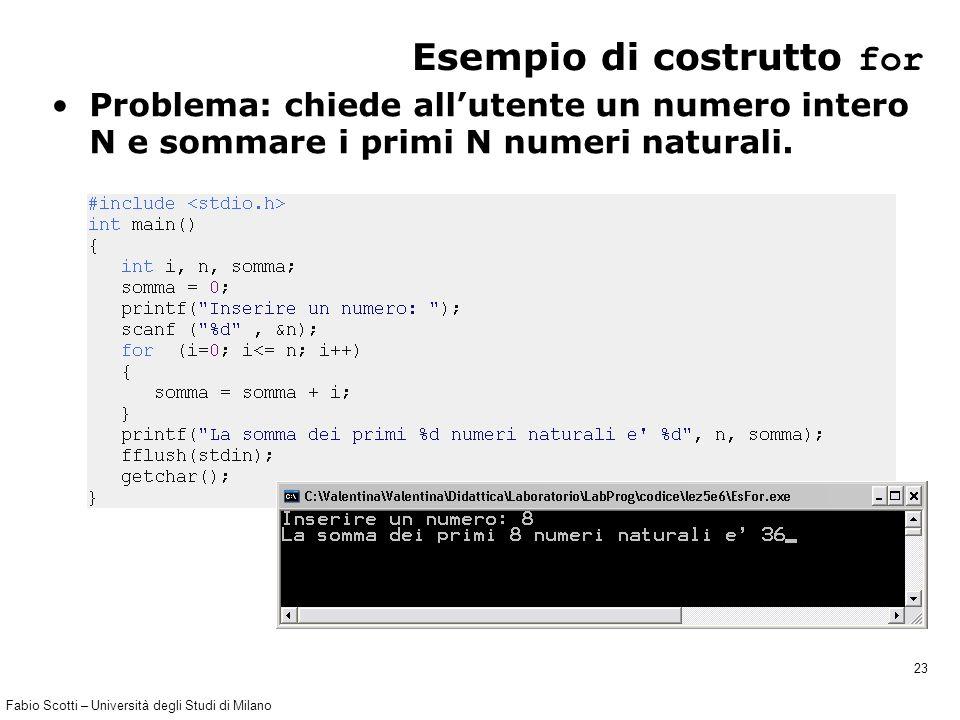 Fabio Scotti – Università degli Studi di Milano 23 Esempio di costrutto for Problema: chiede all'utente un numero intero N e sommare i primi N numeri naturali.