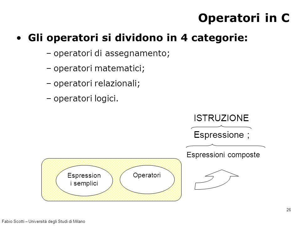 Fabio Scotti – Università degli Studi di Milano 26 Operatori in C Gli operatori si dividono in 4 categorie: –operatori di assegnamento; –operatori matematici; –operatori relazionali; –operatori logici.