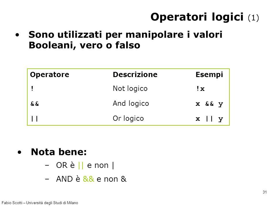 Fabio Scotti – Università degli Studi di Milano 31 Operatori logici (1) Sono utilizzati per manipolare i valori Booleani, vero o falso Operatore Descrizione Esempi .