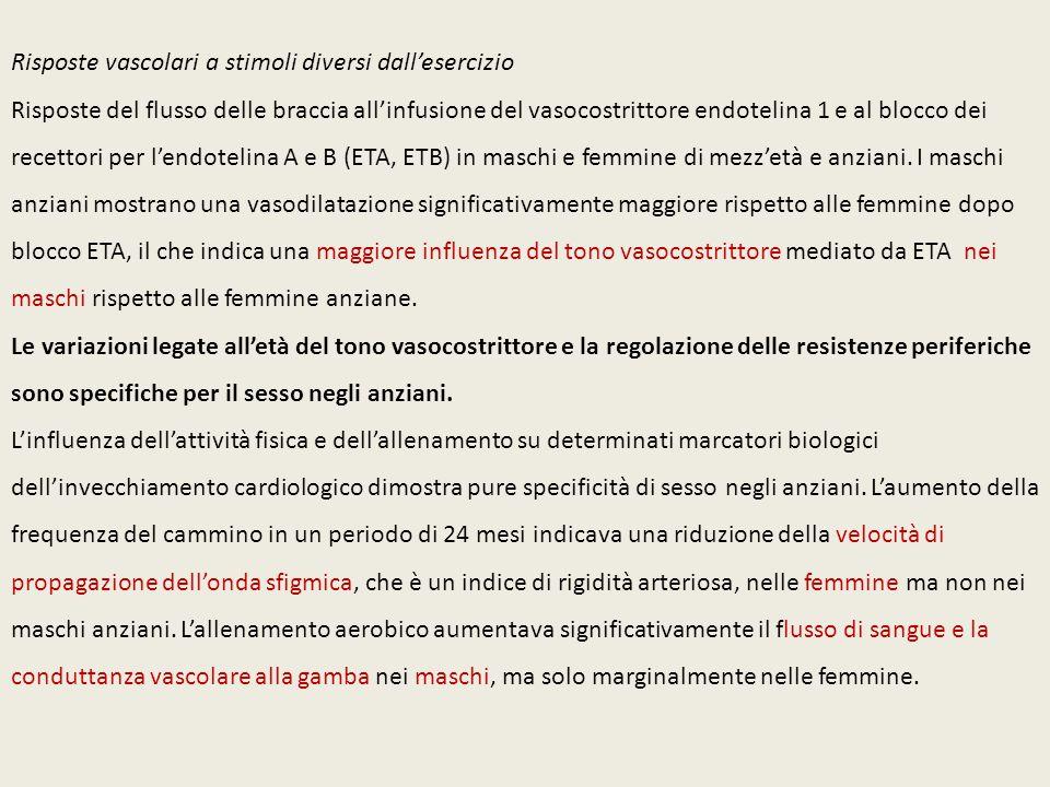 Risposte vascolari a stimoli diversi dall'esercizio Risposte del flusso delle braccia all'infusione del vasocostrittore endotelina 1 e al blocco dei r