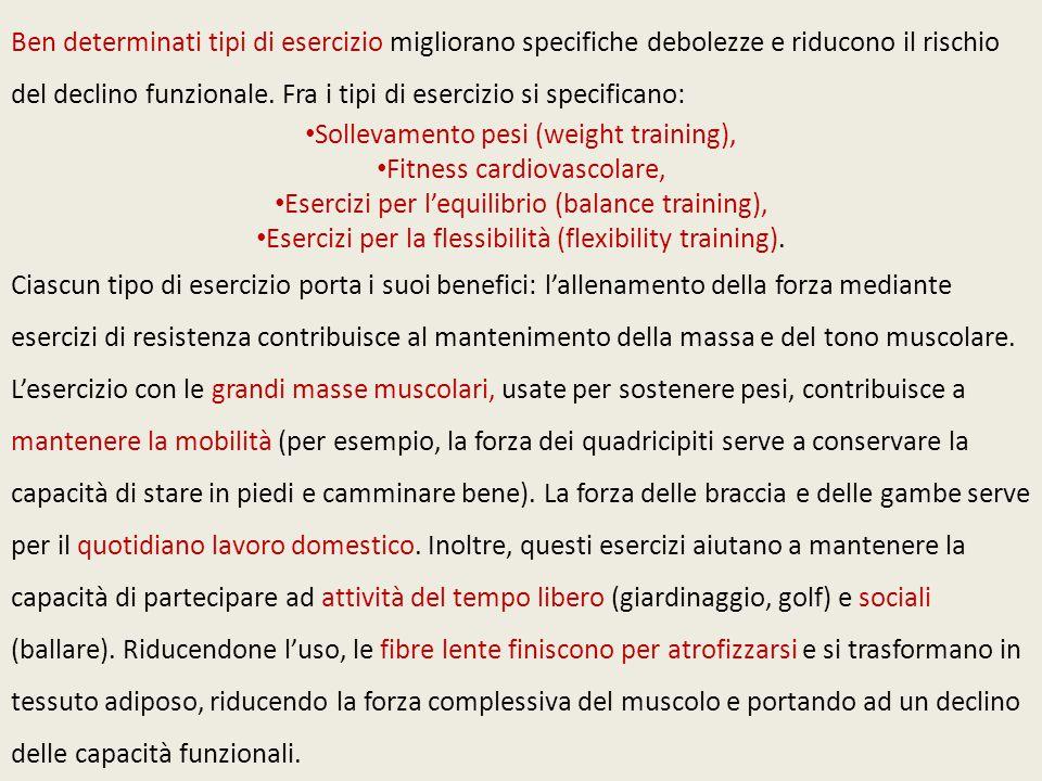 Ben determinati tipi di esercizio migliorano specifiche debolezze e riducono il rischio del declino funzionale. Fra i tipi di esercizio si specificano
