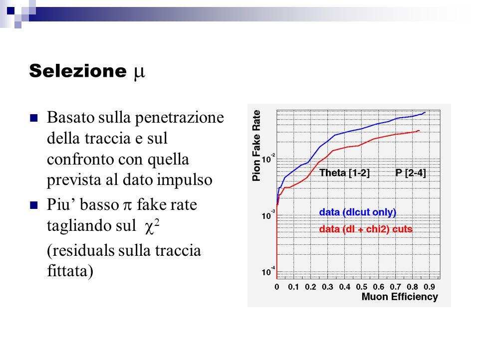 Selezione  Basato sulla penetrazione della traccia e sul confronto con quella prevista al dato impulso Piu' basso  fake rate tagliando sul  2 (residuals sulla traccia fittata)