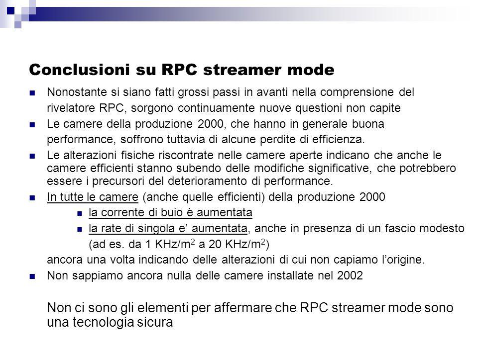 Conclusioni su RPC streamer mode Nonostante si siano fatti grossi passi in avanti nella comprensione del rivelatore RPC, sorgono continuamente nuove questioni non capite Le camere della produzione 2000, che hanno in generale buona performance, soffrono tuttavia di alcune perdite di efficienza.