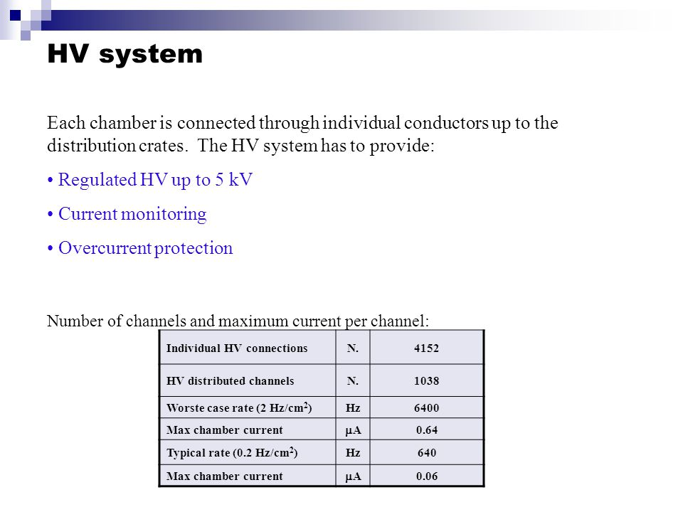 Individual HV connectionsN.4152 HV distributed channelsN.1038 Worste case rate (2 Hz/cm 2 )Hz6400 Max chamber current AA 0.64 Typical rate (0.2 Hz/cm 2 )Hz640 Max chamber current AA 0.06 HV system Each chamber is connected through individual conductors up to the distribution crates.