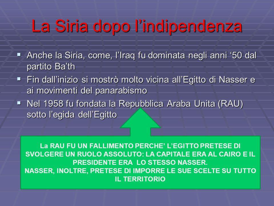 La Siria dopo l'indipendenza  Anche la Siria, come, l'Iraq fu dominata negli anni '50 dal partito Ba'th  Fin dall'inizio si mostrò molto vicina all'Egitto di Nasser e ai movimenti del panarabismo  Nel 1958 fu fondata la Repubblica Araba Unita (RAU) sotto l'egida dell'Egitto La RAU FU UN FALLIMENTO PERCHE' L'EGITTO PRETESE DI SVOLGERE UN RUOLO ASSOLUTO: LA CAPITALE ERA AL CAIRO E IL PRESIDENTE ERA LO STESSO NASSER.
