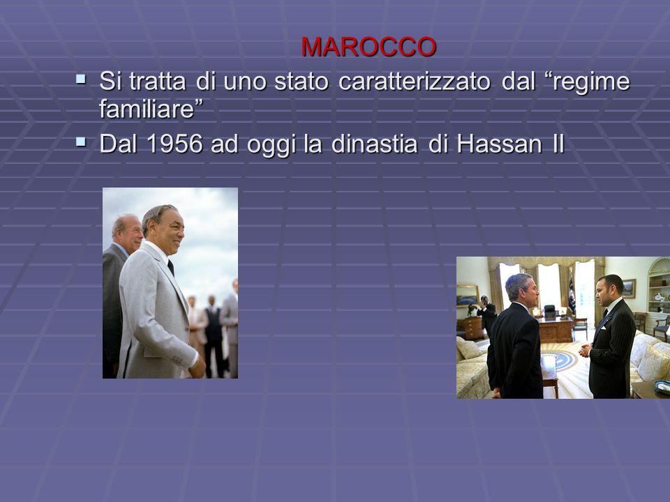 MAROCCO  Si tratta di uno stato caratterizzato dal regime familiare  Dal 1956 ad oggi la dinastia di Hassan II