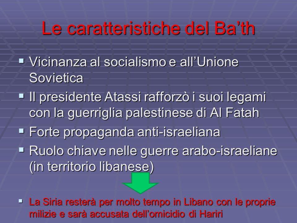 Le caratteristiche del Ba'th  Vicinanza al socialismo e all'Unione Sovietica  Il presidente Atassi rafforzò i suoi legami con la guerriglia palestinese di Al Fatah  Forte propaganda anti-israeliana  Ruolo chiave nelle guerre arabo-israeliane (in territorio libanese)  La Siria resterà per molto tempo in Libano con le proprie milizie e sarà accusata dell'omicidio di Hariri