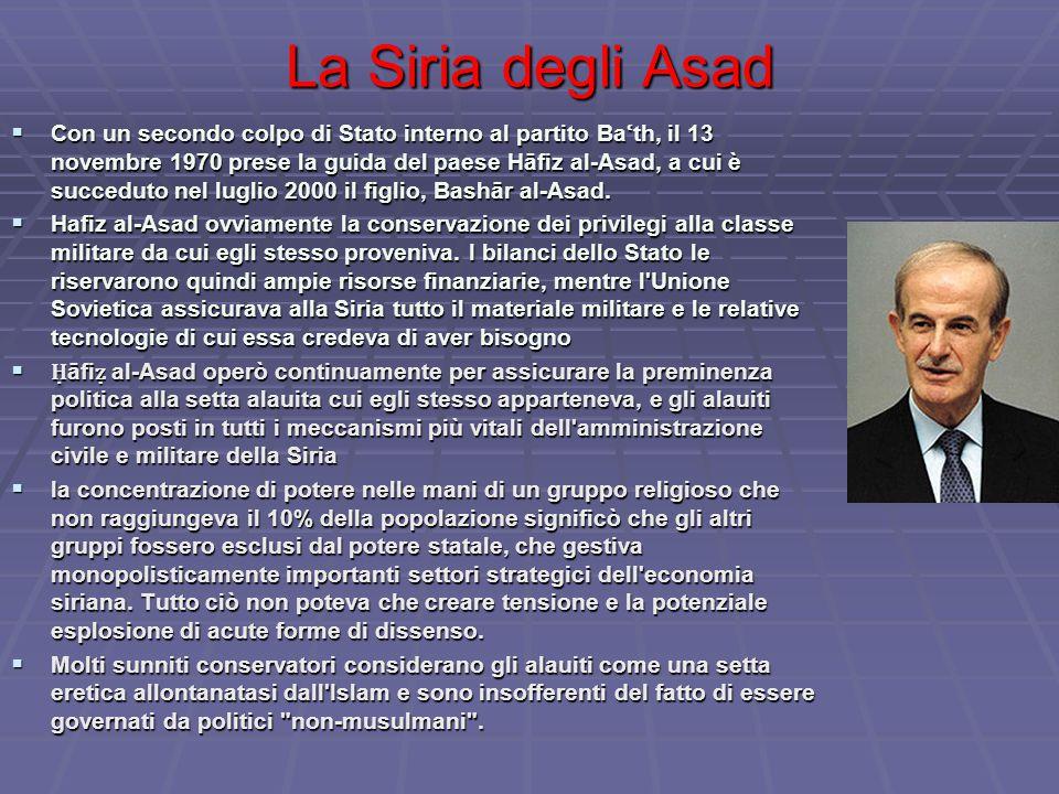 La Siria degli Asad  Con un secondo colpo di Stato interno al partito Ba ʿ th, il 13 novembre 1970 prese la guida del paese Hāfiz al-Asad, a cui è succeduto nel luglio 2000 il figlio, Bashār al-Asad.