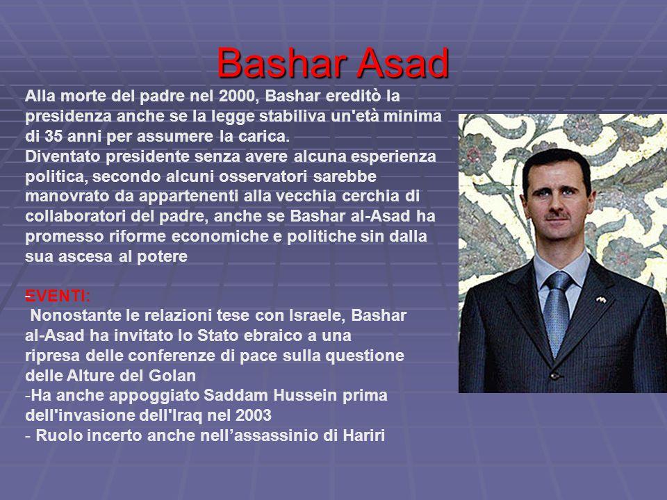 Bashar Asad Alla morte del padre nel 2000, Bashar ereditò la presidenza anche se la legge stabiliva un età minima di 35 anni per assumere la carica.