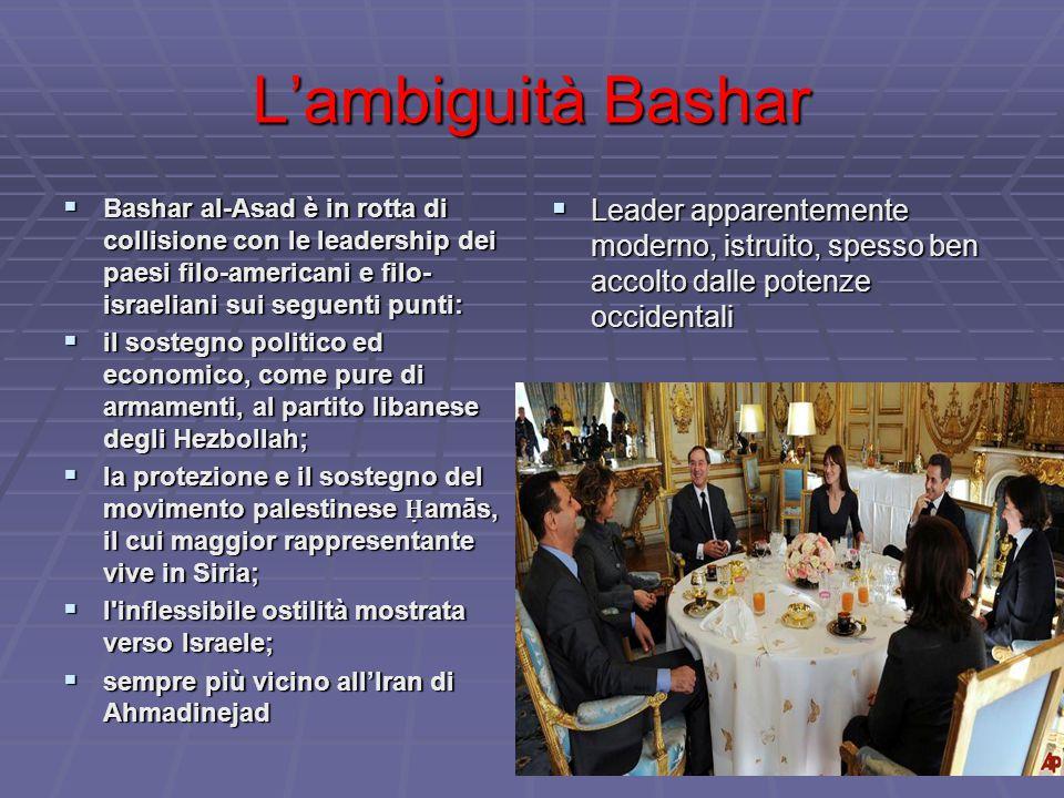 L'ambiguità Bashar  Bashar al-Asad è in rotta di collisione con le leadership dei paesi filo-americani e filo- israeliani sui seguenti punti:  il sostegno politico ed economico, come pure di armamenti, al partito libanese degli Hezbollah;  la protezione e il sostegno del movimento palestinese Ḥ amās, il cui maggior rappresentante vive in Siria;  l inflessibile ostilità mostrata verso Israele;  sempre più vicino all'Iran di Ahmadinejad  Leader apparentemente moderno, istruito, spesso ben accolto dalle potenze occidentali