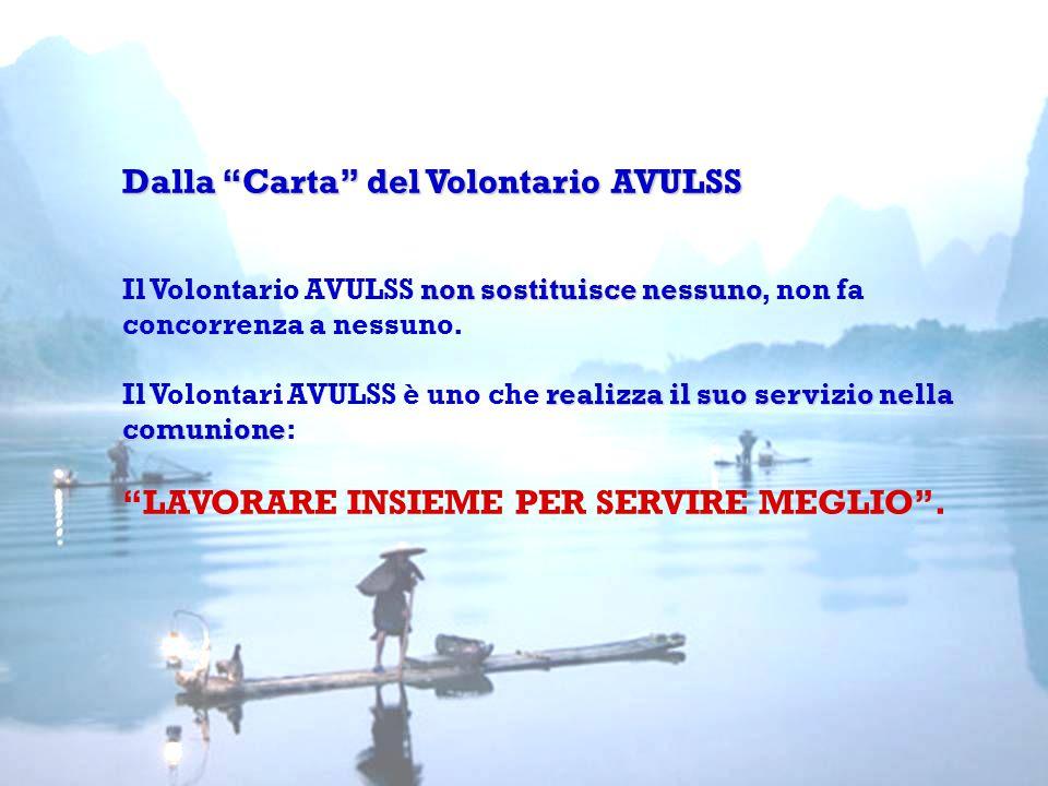 Dalla Carta del Volontario AVULSS non sostituisce nessuno realizza il suo servizio nella comunione Dalla Carta del Volontario AVULSS Il Volontario AVULSS non sostituisce nessuno, non fa concorrenza a nessuno.