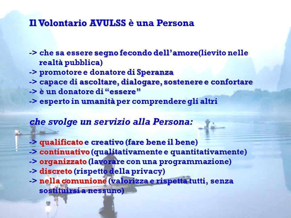 Il Volontario AVULSS Il Volontario AVULSS è una Persona segno fecondo dell'amore -> che sa essere segno fecondo dell'amore(lievito nelle Speranza ascoltare, dialogare, sostenere e confortare essere umanità qualificato creativofare bene il bene continuativo organizzato discreto comunione realtà pubblica) -> promotore e donatore di Speranza -> capace di ascoltare, dialogare, sostenere e confortare -> è un donatore di essere -> esperto in umanità per comprendere gli altri che svolge un servizio alla Persona: -> qualificato e creativo (fare bene il bene) -> continuativo (qualitativamente e quantitativamente) -> organizzato (lavorare con una programmazione) -> discreto (rispetto della privacy) -> nella comunione (valorizza e rispetta tutti, senza sostituirsi a nessuno)