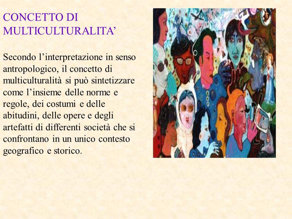 CONCETTO DI MULTICULTURALITA' Secondo l'interpretazione in senso antropologico, il concetto di multiculturalità si può sintetizzare come l'insieme del